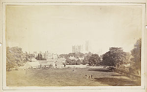 Durham, England - View of Durham Cathedral and its surroundings c. 1850