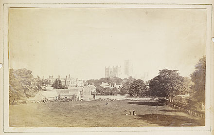 View of Durham Cathedral and its surroundings c. 1850 View of Durham Cathedral (4094887351).jpg