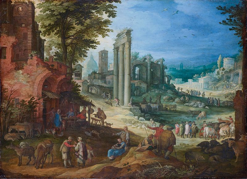 File:View of the Forum Romanum with the Columns of the Castor and Pollux Temples and the Hadrian Basilica, by Paul Bril.jpg