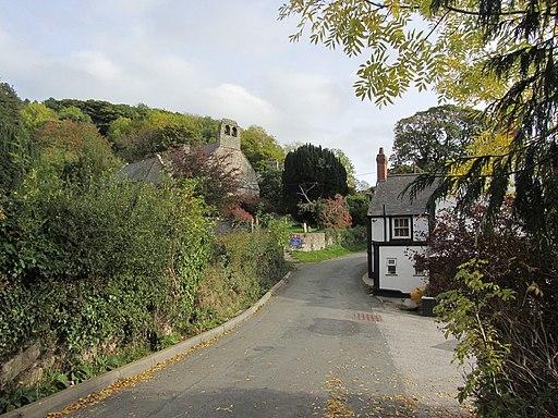 Village lane & church Cwm near Dyserth (geograph 4755372)