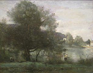An Idyllic Spot at Ville-d'Avray—A Fisherman on the Banks of the Pond