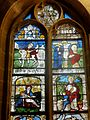 Vineuil-Saint-Firmin (60), église Saint-Firmin, verrière n° 4 - saint Martin, Christ en croix, Pietà, saint Nicolas.JPG