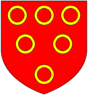Vieuxpont - Arms of Vipont: Gules, six annulets or. These arms were later quartered by Baron Clifford