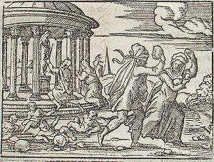 Deucalion and Pyrrha. Engraving by Virgil Soli...