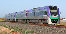 Modern V/Line VLocity diesel train used on services to Geelong, Ballarat, Bendigo and Traralgon.
