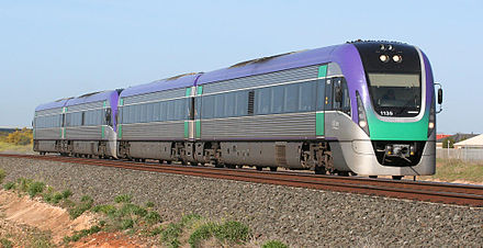 Modern V/Line VLocity diesel train purchased for the Regional Fast Rail project Vlocity train at lara victoria.jpg