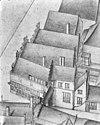 vogelvlucht b.f. v.berckenrode detail van de poort aan de kalverstraat(1631) - amsterdam - 20014077 - rce
