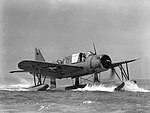 Vought OS2U Kingfisher taxis off NAS Alameda in June 1942.jpg