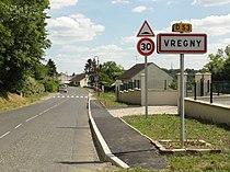 Vregny (Aisne) city limit sign.JPG