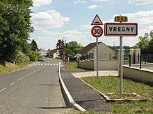 Vregny (Aisne) city limit sign.JPG