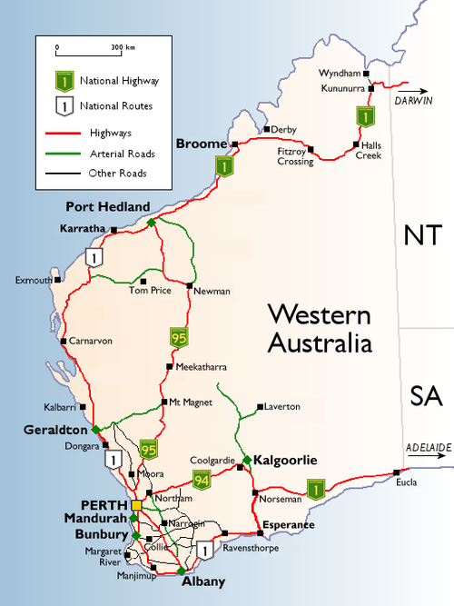 Western Australian cities, towns, settlements and road network. WAHighways.png