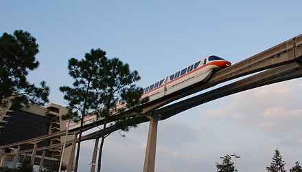 The Walt Disney World Monorail System provides free transport across the resort. WDW Monorail.jpg
