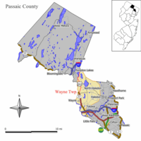 Map of Wayne Township in Passaic County. Inset: Location of Passaic County highlighted in the State of New Jersey.