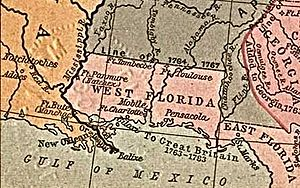 Spanish Florida - The expanded West Florida territory in 1767.