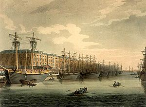 West India Docks - West India Docks by Augustus Pugin  and Thomas Rowlandson (figures) from Rudolph Ackermann's Microcosm of London, or, London in Miniature (1808-11).