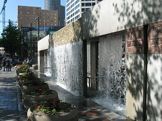 Westlake Center - The cascading water monument in the plaza