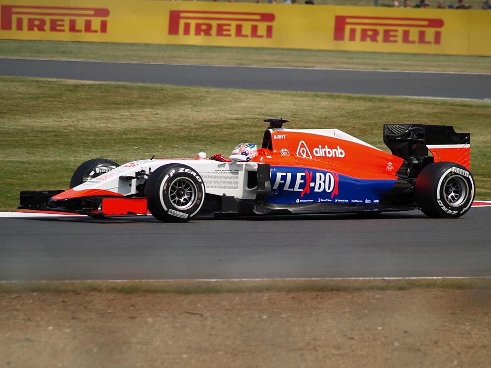 Will Stevens driving the Manor F1 MR03B at the British GP