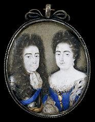 Willem III (1650-1702), prins van Oranje en sinds 1689 koning van Engeland met zijn vrouw Maria Stuart (1662-95)