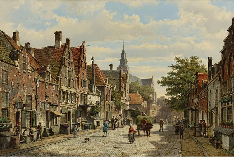 File:Willem Koekkoek & Hermanus Koekkoek - Figures conversing in the streets of a Dutch town.jpg