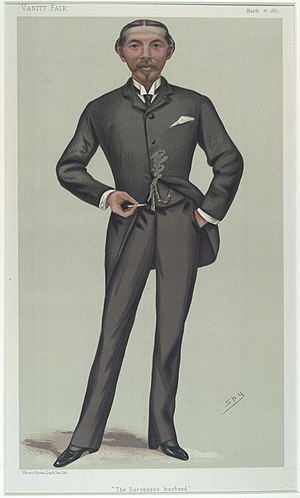 "William Burdett-Coutts - ""The Baroness husband"". Caricature by Spy published in Vanity Fair in 1881."