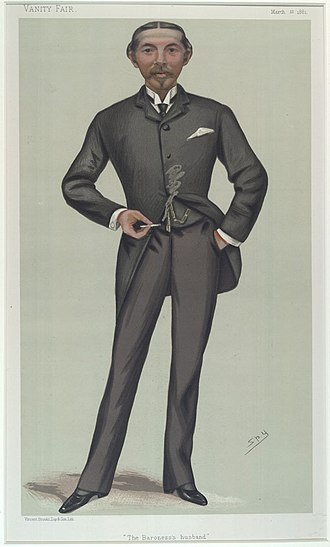 """William Burdett-Coutts - """"The Baroness husband"""". Caricature by Spy published in Vanity Fair in 1881."""