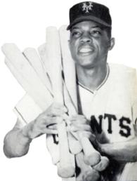 Fotografia lui Willie Mays într-o uniformă Giants leagă șase lilieci peste umărul drept