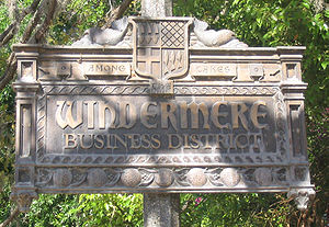 Windermere, Florida - These signs appear on light poles at borders of the business district at the center of downtown.
