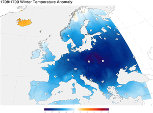 Great Frost of 1709 - 1708/1709 winter temperature anomaly with respect to 1971–2000 climatology.