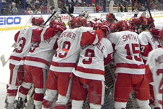 Wisconsin Badgers men's ice hockey - Badgers gather before a game against Boston University (2010).