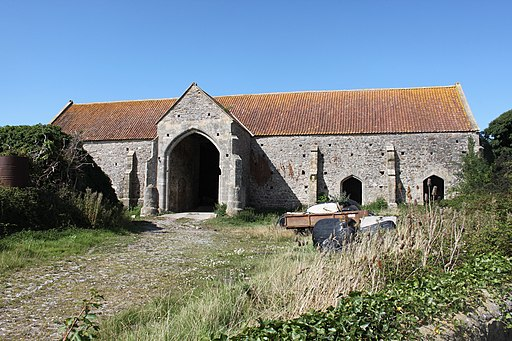 Woodspring Priory Barn circa 50 metres north west of priory church