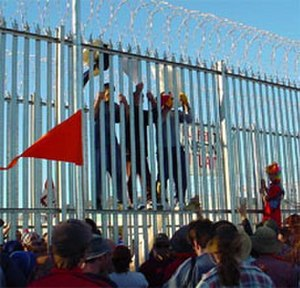 Socialist Alternative (Australia) - A participant in the Refugee Action Collective, Socialist Alternative took part in the 2002 protest at the Woomera Detention Centre in which several refugees, with the aid of demonstrators outside, tore down the fences of the facility and broke out.
