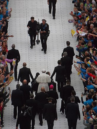 Pope Francis's visit to Ireland - Pope Francis surrounded by bodyguards, Croke Park, 25 August