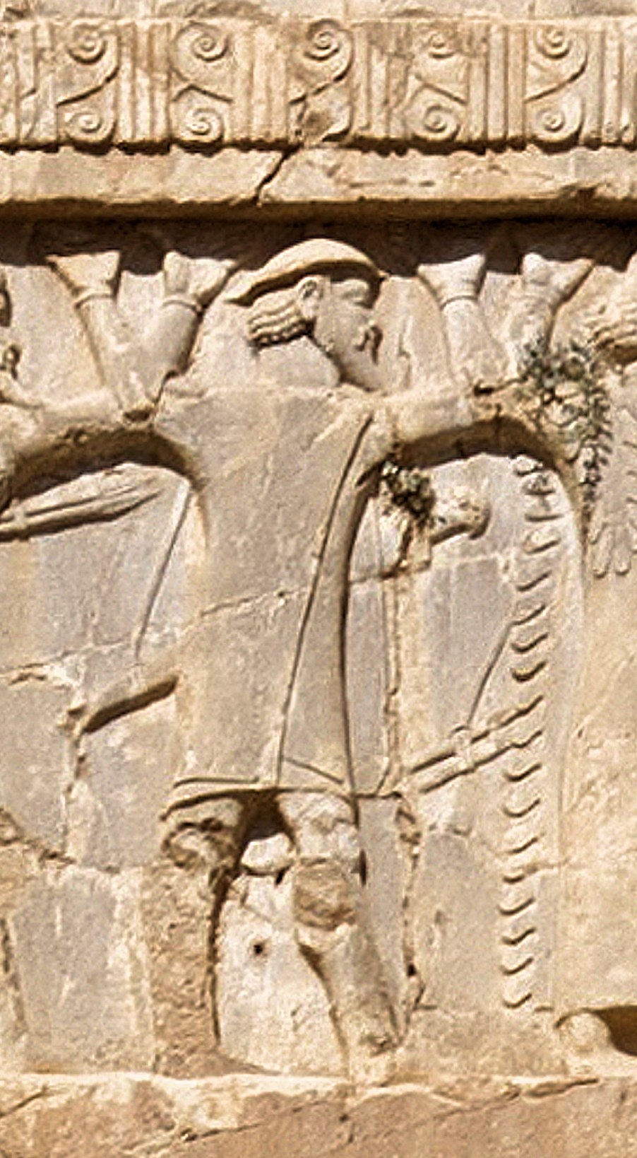 Xerxes I tomb Ionian with petasos or kausia soldier circa 480 BCE