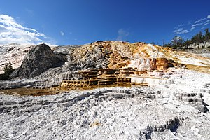 Mammoth Hot Springs - Mineral deposition, Mammoth Hot Springs