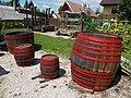 Yard of the Béla Darnay-Dornyay cellar, barrels in Gyenesdiás, 2016 Hungary.jpg