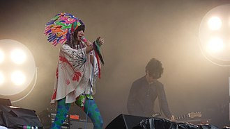 Yeah Yeah Yeahs - Karen O and Nick Zinner performing at the Glastonbury Festival 2009