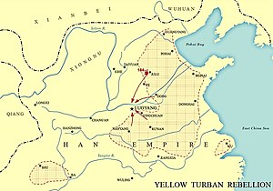 Yellow Turban Rebellion - Map showing the extent of the Yellow Turban Rebellion in China in 184 AD.
