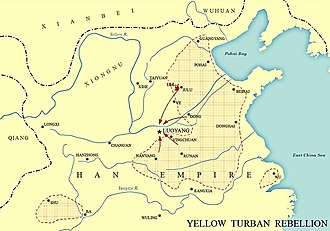 End of the Han dynasty - Map showing the Yellow Turban Rebellion in Eastern Han Dynasty of China.