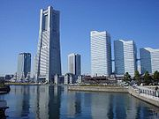 The Minato Mirai 21 district of Yokohama, featuring the Landmark Tower and surrounding buildings.