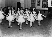 Young girls competing at the Royal Academy of Dancing (London) exams held in Brisbane and Toowoomba, 1938 (7946600826).jpg