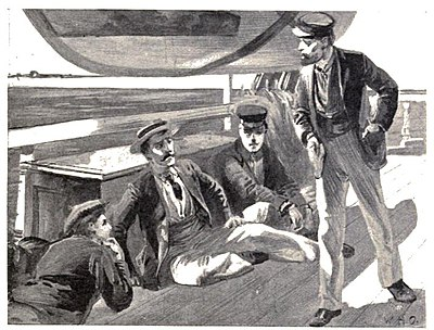 Three men lounging on deck facing one standing sailor