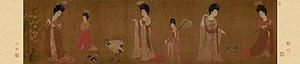 Zhou Fang (Tang dynasty) - Image: Zhou Fang. Court Ladies Wearing Flowered Headdresses. (46x 180) Liaoning Provincial Museum, Shenyang