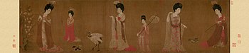 Zhou Fang. Court Ladies Wearing Flowered Headdresses. (46x180) Liaoning Provincial Museum, Shenyang..jpg