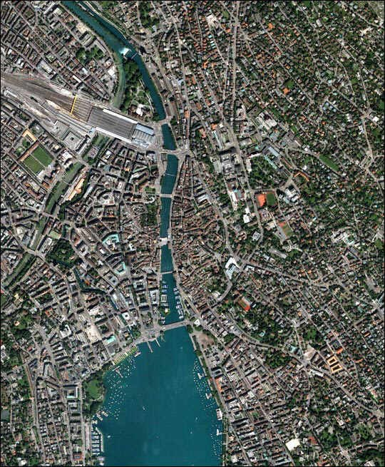 Zurich Innenstadt satellite view