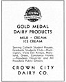 """CROWN CITY DAIRY CO."" ""GOLD MEDAL DAIRY PRODUCTS"" ad of Pasadena, The Big T 1933 (page 216 crop).jpg"