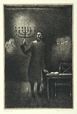 """Schemajah Hillel"", page 18 from the book ""Der Golem"", illustrated by Hugo Steiner-Prag"