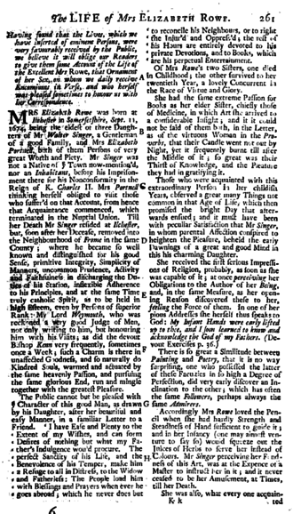 "Elizabeth Singer Rowe - The article ""The Life of Mrs. Elizabeth Row"" which was published in ""The Gentleman's Magazine"" in May 1739."