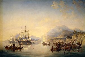 HMS Erebus (1826) -  'Erebus' and the 'Terror' in New Zealand, August 1841, by John Wilson Carmichael.