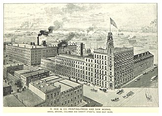 Richard March Hoe - Image: (King 1893NYC) pg 963 R. HOE & CO PRINTING PRESS AND SAW WORKS. COLUMBIA AND SHERIFF STREETS, NEAR EAST RIVER