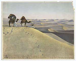 (Men and camels in the desert.).jpg